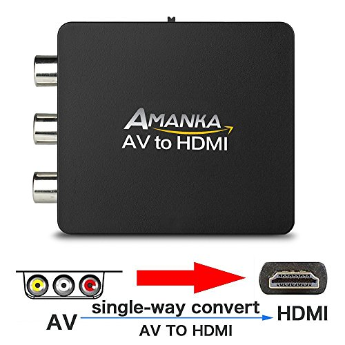 Amanka AV to HDMI Converter 3RCA Composite Video Adapter with USB Charging Cable for TV/PC/PS3/Blue-Ray ()