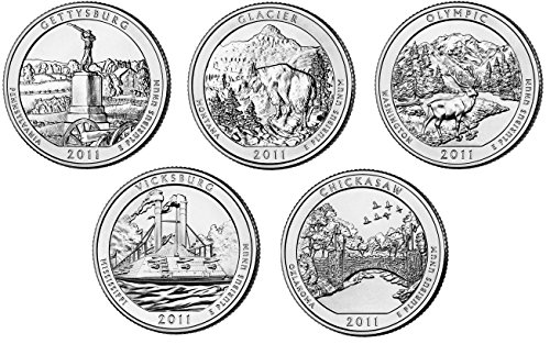 2011 P Complete Set of 5 National Park Quarters Uncirculated