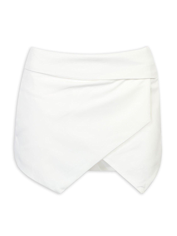 Choies Women's Asymmetrical Hem Shorts Skort White Boho Tulip Skorts M