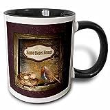 3dRose Beverly Turner Home Sweet Home - Bird with Nest of Eggs, Home Sweet Home - 11oz Two-Tone Black Mug (mug_216607_4)