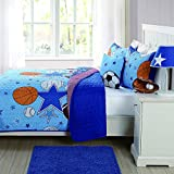2 Piece Boys Blue All Star Sports Theme Quilt Twin Set, Fun Kids All Over Sport Super Stars Bedding, Stylish Basketball Football Soccer Ball Volleyball Baseball Themed Stripe Pattern, Orange Red