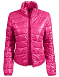 RK RUBY KARAT Womens Casual Fitted Zip Up Puffer Jacket
