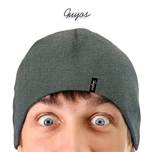 (Guyos Beanie for Women and Men Unisex Cuffed Plain Skull Toboggan Warm Double Layer Knit Hat and Cap (Sport Grey))