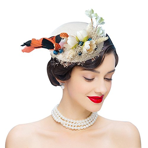 (Edith qi Feather Fascinators Bird Wool Felt Sinamay Hats with Hair Clip for Tea Derby Party Ivory )