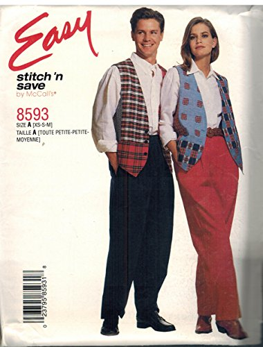 8593 McCalls Sewing Pattern Uncut Misses Mens Lined Vest Pants Size XS S