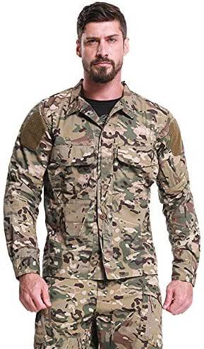 Specter Militar Camisas para Hombre RipStopTáctica Shirt Cotton Casual Manga Larga Botón Top Blusa(M-2XL),L: Amazon.es: Deportes y aire libre
