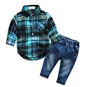 Beide Baby Boys Outfits Long Sleeve Plaid Bodysuit + Jean Pant(blue,6-9m)