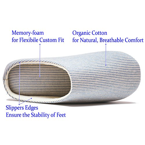 RelaxedFoot Storage Bag Memory amp; Cotton Slippers with Blue Pair 1 Organic Foam qzqraOnv