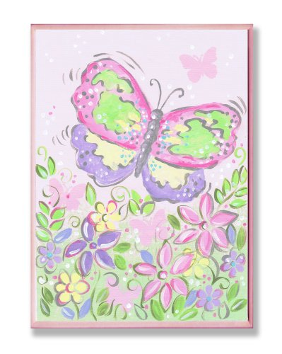 The Kids Room by Stupell Large Pastel Butterfly and Flowers Rectangle Wall Plaque by The Kids Room by Stupell