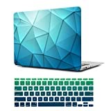 Dongke Unique Desgin Crystal Clear Plastic Hard Sleeve Case Cover for Apple MacBook Air 11 inch model:A1465/A1370 with Gradient Color Keyboard Cover (Blue Crystal)