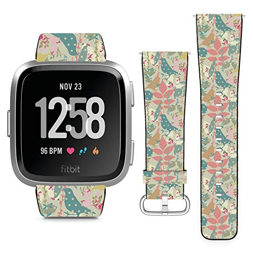 (Compatible with Fitbit Versa // Leather Replacement Bracelet Strap Wristband with Quick Release Pins // Floral Birds Imitating Applique)