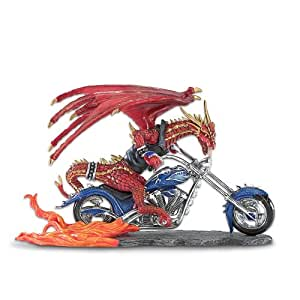 Burnin' Rubber Collectible Red Dragon And Motorcycle Figurine by The Hamilton Collection