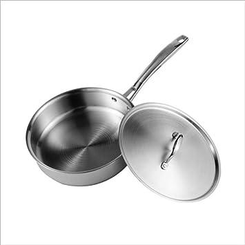 SKYyao Sarten acero inoxidable,cocina de acero inoxidable sin recubrimiento sin aceite antiadherente sartén olla 26cm: Amazon.es: Hogar