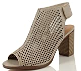 City Classified Women's Roadway Faux Leather Peep Toe Laser Cut Out Slingback Stacked Heels, Cement, 75 M US