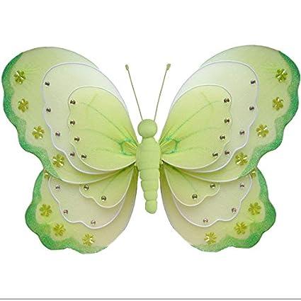 Hanging Butterfly Medium 10 Pink Gray Grey Triple Layered Mesh Nylon ...