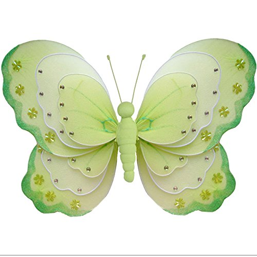 Hanging Butterfly Medium 10 Green White Triple Layered Nylon Mesh Butterflies Decorations Decorate Baby Nursery Bedroom Girls Room Ceiling Wall Decor Wedding Birthday Party Baby Shower Bathroom Kid