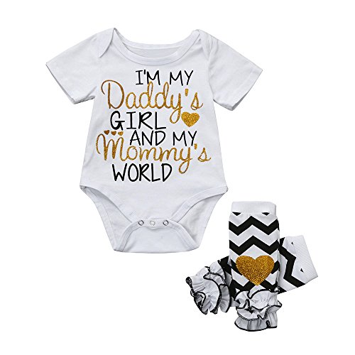 Baby Letter Bowknot Print Top Clothes Rompers Bodysuit (White) - 4