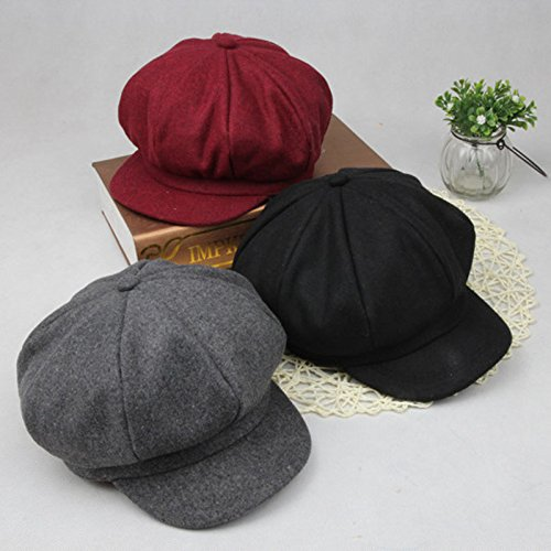 ArMordy(TM) New Woolen Octagonal Baby Hats Retro Adjustable Cap for Girl Boy Children Hat for 2-6 Years 1PC[ Wine Red ]