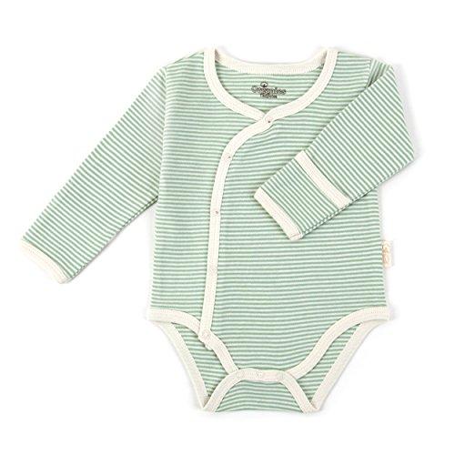Tadpoles Organic Long Sleeve Pinstripe Kimono Bodysuit - 6-9 Months Sage