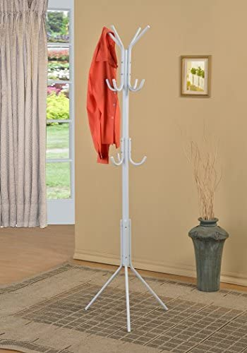 eHomeProducts White Finish Metal 3-Tier Coat Rack Hat Purse Display Stand Hall Tree with 11 Hooks