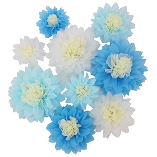 Mybbshower Giant Blue White Paper Flower for Birthday Party Backdrop Wedding Centerpiece Pack of 9 -