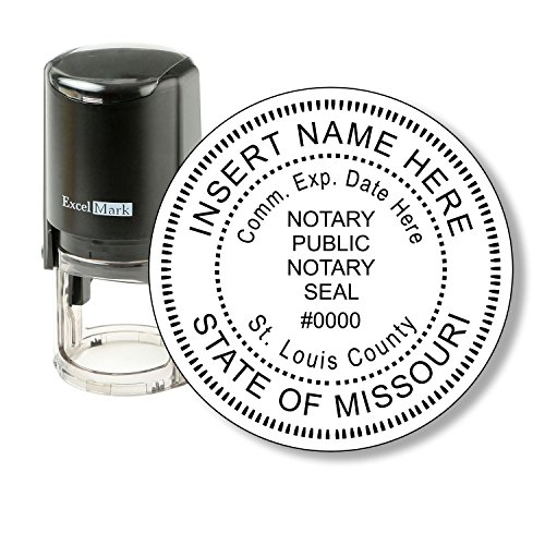 Round Notary Stamp for State of Missouri - Self Inking Stamp - Features The ExcelMark Double Sided Ink Pad for Longer Product Life