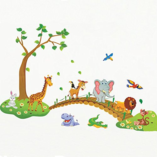 3D Jungle wild animal tree bridge flowers wall stickers for kids room living room lion Giraffe elephant birds home decor