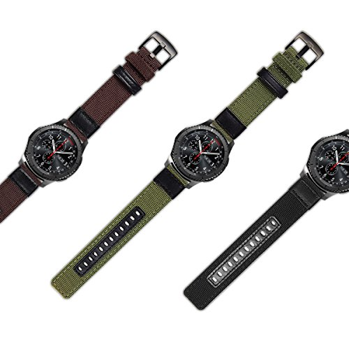 Gear S3 Bands Nylon, Maxjoy S3 Frontier Classic Band 22 mm Woven Nylon Replacement Strap Large Sport Wristband Bracelet with Stainless Steel Metal Buckle for Samsung Gear S3 Smart Watch, Army Green by Maxjoy (Image #6)