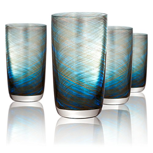 Artland Misty Highball Glass, Set of 4, 15 oz, Aqua by Artland