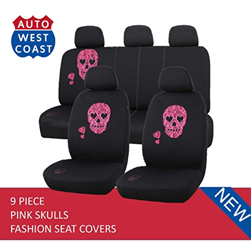 West Coast Auto Car Seat Covers Set for Cars, Trucks, Vans, SUV - Airbag Compatible (Polycloth) (Pink Skull) (Seat Skull Cover Car Pink)
