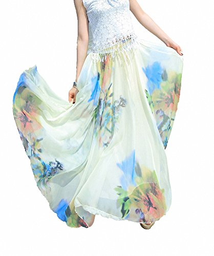 Afibi Women Full/Ankle Length Blending Maxi Chiffon Long Skirt Beach Skirt (Medium, Design N(9)) ()