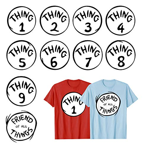 Calculs Thing 1-9 Iron On Heat Transfers Bundle Thing 1 and Thing 2 Shirts Costume Transfer Vinyls 10 Sheets