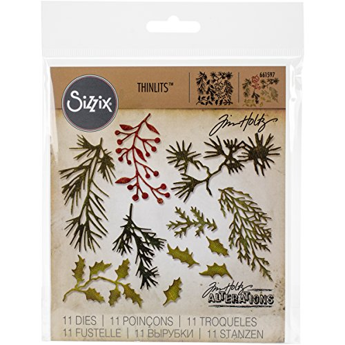 Sizzix 661597 Thinlits Die Set, Holiday Greens, Mini by Tim Holtz (11-Pack)