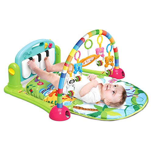 Baby Piano Activity Play mat Kick and Play Gym with Hanging Toys and Mirror