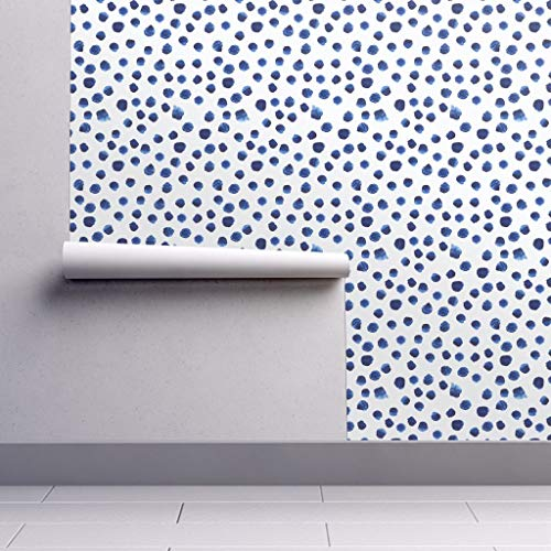 Peel-and-Stick Removable Wallpaper - Blue Watercolor Dots Nursery Watercolor Watercolour Blue Brushstroke by Katerinaizotova - 24in x 144in Woven Textured Peel-and-Stick Removable Wallpaper Roll