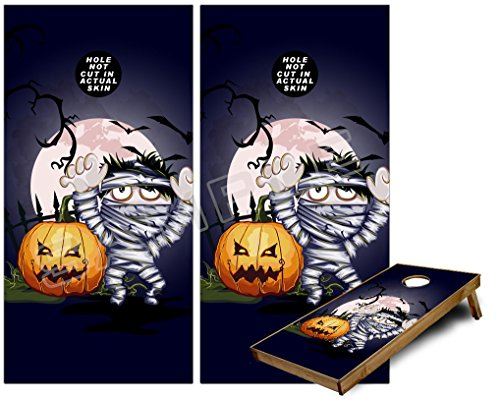 Cornhole Bag Toss Game Board Vinyl Wrap Skin Kit - Halloween Jack O Lantern Pumpkin Bats and Zombie Mummy (fits 24x48 game boards - Gameboards NOT INCLUDED) for $<!--$54.95-->
