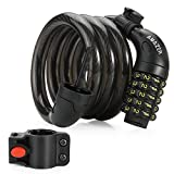 Bike Cable Lock, Amazer Upgraded 5-digit Combination Bike Cable Basic Self Coiling Resettable Combination Cable Bike Locks with Mounting Bracket, 4 Feet x 3/5 Inch