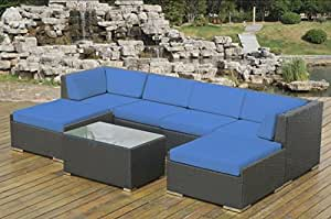 Ohana Collection Pn0704BL Genuine Ohana Outdoor Patio Wicker Furniture 7-Piece All Weather Gorgeous Couch Set with Free Patio Cover