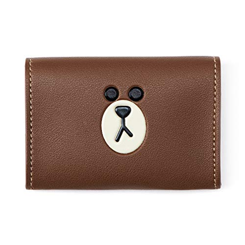 Line Friends Business Card Holder - BROWN Character Design Faux Leather Organizer Case and Wallet, Brown