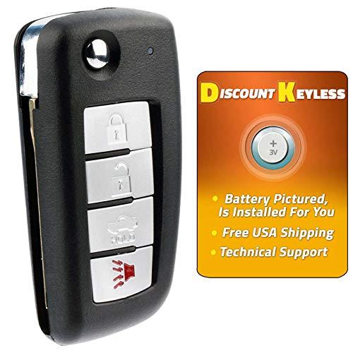 For 02-14 Infiniti & Nissan Keyless Entry Remote Flip Key Fob 4btn Uncut W/Transponder Chip KBRASTU15, CWTWB1U415, CWTWB1U733, CWTWB1U821