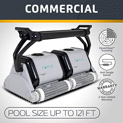 (Dolphin C6 Plus Commerical Robotic Pool Cleaner with an Extra-Wide Cleaning Path, Four Scrubbing Brushes and High-Capacity Filtration, Ideal for Institutional Swimming Pools up to 121 Feet.)