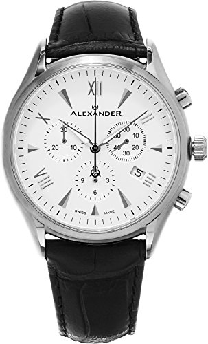 Alexander Heroic Pella Men's Multi-function Chronograph Silver Dial Black Leather Strap Swiss Made Watch - Hours Independence Holiday Center