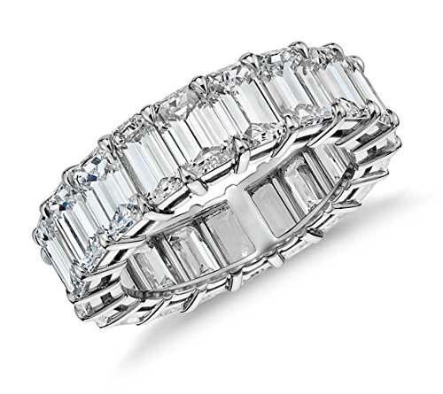 Sterling Silver Emerald Cut Eternity Band Cz Ring - Beautifully Crafted Eternity Ring with Emerald Cut Cz Stones (8) (Eternity Band Sterling Silver)