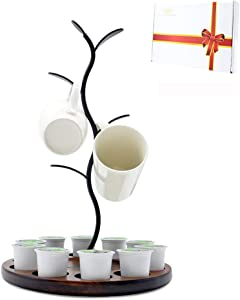 Mug Rack Tree and K Cups Holder, Coffee Accessories Storage Rack Counter, Cup Stand and Coffee Pods Organizer, Perfect for Home, Kitchen, Cafe, Coffee Station Bar Decor, Office, Wood and Metal