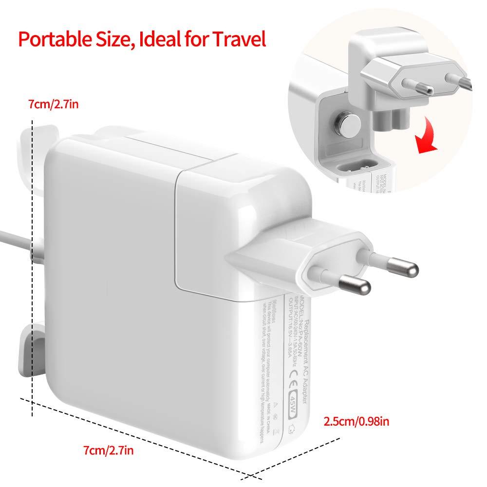 Cargador Mac Book Air 45W Magsafe2 Adaptador corriente Forma de T Cargador Compatible for MacBook MacBook Pro 11 y 13 pulgadas para A1435 A1436 A1465 mi/é 2012 modelos anteriores a mediados de 2012
