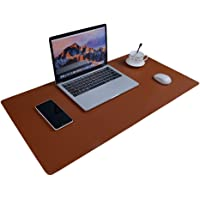Large Desk Pad Mouse Pad, Aisakoc 35.4''x15.75'' Non-Slip PU Leather Desk Mouse Pad Waterproof, Dual-Side Use Desk Gaming Writing Mat for Office Home (Brown+Grey)