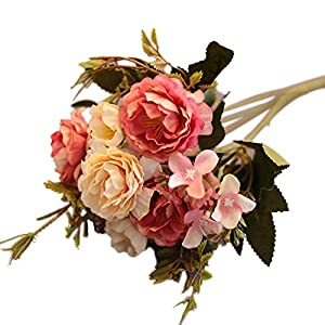 Yamalans 1 Bouquet 10 Heads Artificial Peony Faux Silk Flower Home Table Vase Garden Wedding Party Decoration 36