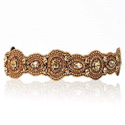 Bride Gold Champagne Crystal Rhinestone Diamond Headband Adjustable Non-slip Comfortable for Wedding