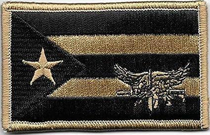 "2/"" x 3 1//4/"" Desert Coyote Tan Black Puerto Rico Flag SWAT Operator Morale Patch"