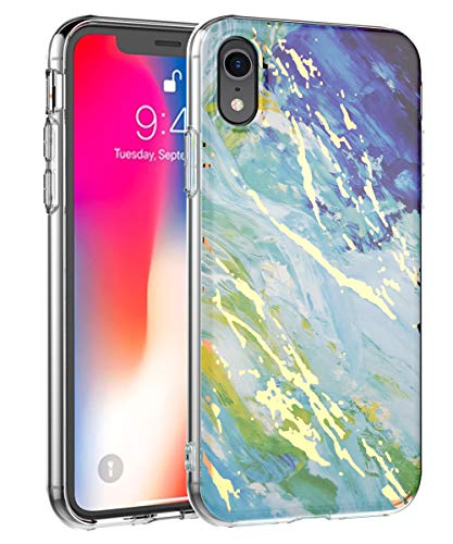 iPhone XR Case 2018,Spevert Marble Pattern Hybrid Hard Back Soft TPU Raised Edge Slim Protective Case Cover Compatible iPhone XR 6.1 inches 2018 - Green